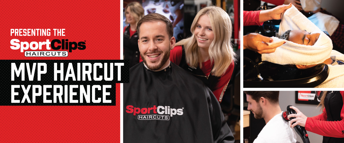 The Sport Clips Haircuts of Plant City MVP Haircut Experience with stylist giving a client a haircut, a hot towel placed on his face, and using a massager on a clients upper back